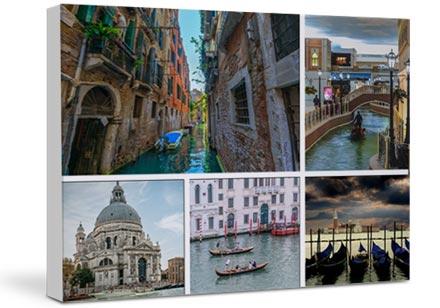stampa su tela collage con foto di Venezia