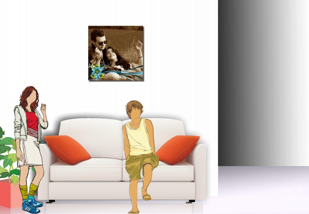 ambiente con tela canvas in tonalità seppia
