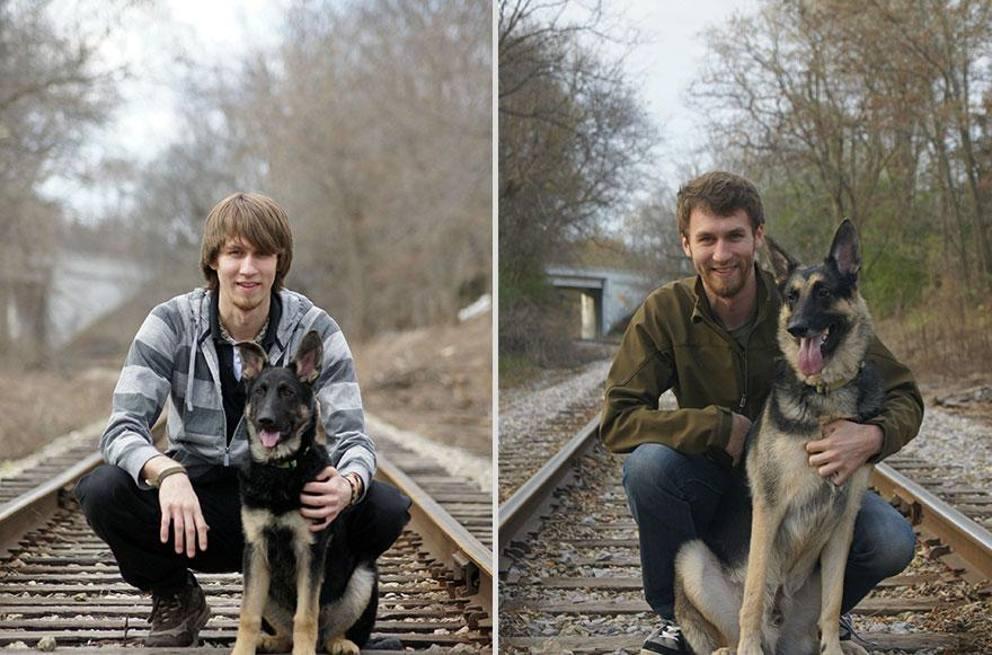 cane e padrone a distanza di anni