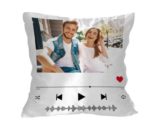 cuscino in raso personalizzato con grafica spotify