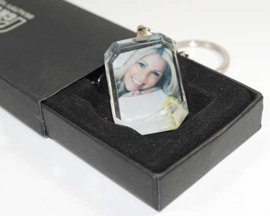 portachiavi rettangolare in cristallo con foto