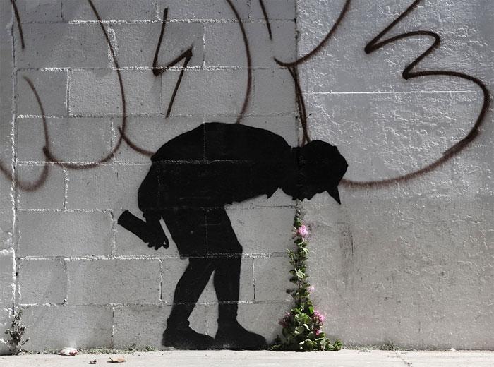 street art bambino che si sente male