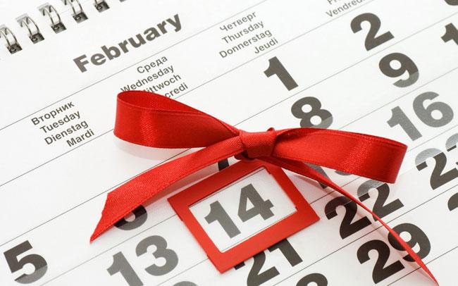 calendario della data di San Valentino