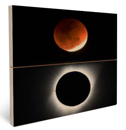 stampa foto eclissi luna su legno